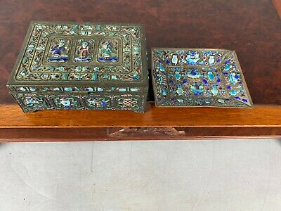 19th/20th C. Chinese Bronze Burning Blue Cloisonné Rectangular Cigarette Box and