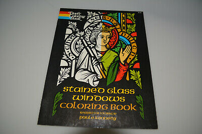 Vintage 1972 Stained Glass Windows Coloring Book P Kennedy DOVER RARE unused NOS