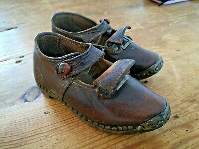 Antique Child's Shoes Leather + Wooden Soles ~Hand Made ~C1800's ~VGC (HME)
