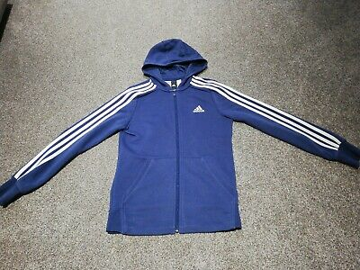 Girls Adidas Blue Hooded Zip Up Jumper Age 13-14  Years Vgc