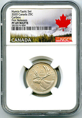 2020 Canada 25 Cent Ngc Pf69 Numis-Tastic Matte Proof Quarter First Releases