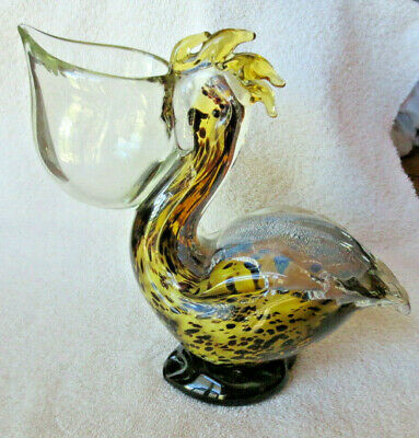 Vintage Murano Art Glass Pelican Figurine - Heavy  - Euc - Beautiful!