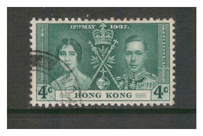 HONG KONG 1937 CORONATION ELIZABETH & GEORGE 4c GREEN SG137 VERY FINE USED