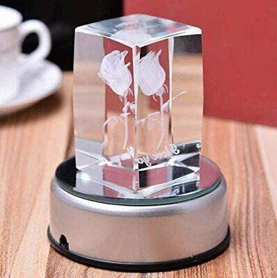 """3"""" Led Rotating Light Color Changing Glass Crystal Display Base Stand Decoration"""