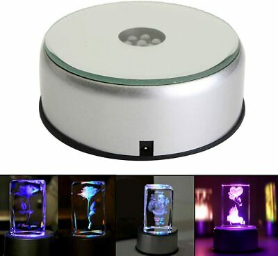 """4"""" Led Rotating Light Color Changing Glass Crystal Display Base Stand Decoration"""