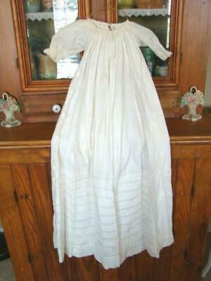 Antique Crisp Cotton Tucked Gathered Long Sleeve BABY GOWN, Baptism Christening