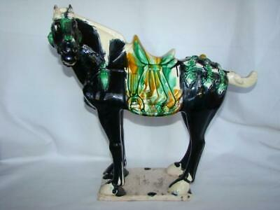 """Vintage 15"""" Ceramic Majolica Chinese TANG Style DYNASTY WAR HORSE, Signed"""