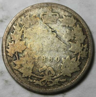 Canada 1880H Narrow 0 Variety Sterling Silver 25 Cents, Old Date Queen Victoria