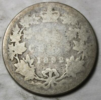 Canada 1892 Sterling Silver 25 Cents, Old Date Queen Victoria