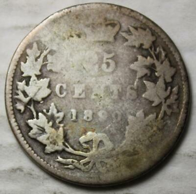 Canada 1890H Sterling Silver 25 Cents, Old Date Queen Victoria