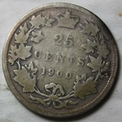 Canada 1900 Sterling Silver 25 Cents, Old Date Queen Victoria
