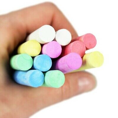 50 x Mixed Colour & White Chalk Sticks Pack Kids Playground School Art Learning