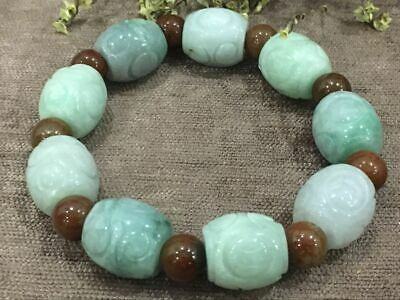 Chinese Exquisite Handmade Carving jadeite jade beads Bracelet certified2610