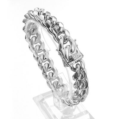 """Silver Tone Mens Cuban Link Bracelet High Quality Stainless Steel Bangle 8.5"""""""