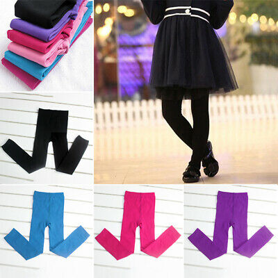 Girls Kids High Waist Pants Slim Fit Warm Leggings Skinny Elastic Long Trousers