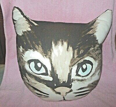 "Large Cat Face Ears Pillow Cushion Home Decor Accent 17"" So Cute!"