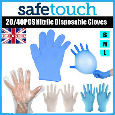 100 Disposable Gloves Blue Black Nitrile Latex Clear Vinyl Cleaning Supplies UK