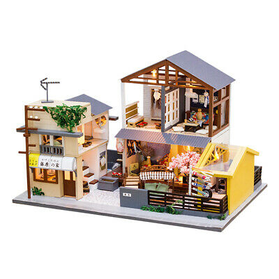 DIY Miniature Dollhouse Japanese Style Architectural No Dust Cover for Kids Gift