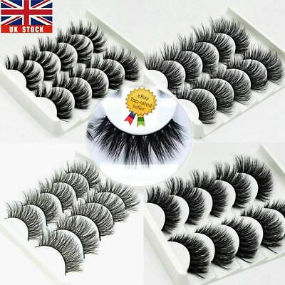 5Pair 3D Mink False Eyelashes Wispy Cross Long Thick Soft Fake Eye Lashes Multi