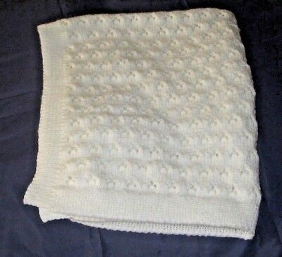 Hand Knitted In Double Knit White Lacy Eyelet Design Large Baby Blanket