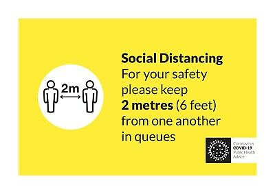 Social distancing 2 metres safety plastic sign COVID shop supermarket