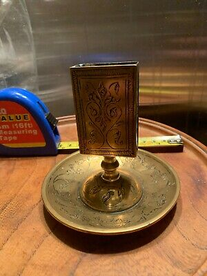 Antique Chinese Export Brass Matchbox Holder Ashtray Match Safe Etched Vtg Dish