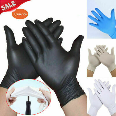 100Pcs RUBBER COMFORTABLE DISPOSABLE Mechanic Nitrile GLOVES BLACK Exam S/M/L/XL