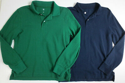 Gap Kids Boys Size Large 10-11 Years Uniform Long Sleeve Polo Shirts Green Blue