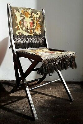 Antique c1890 Aesthetic Movement Folding Chair. Embroidered Seat & Back. Display