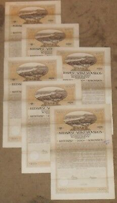 5 piece lot of 1918 Budapest City Bond Certificate and Coupons 200 Koronarol