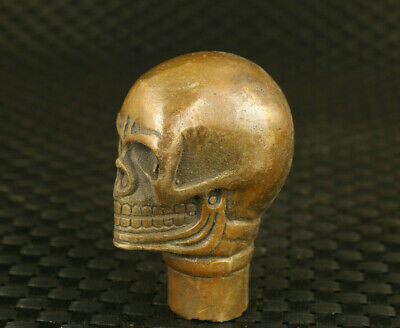 cool chinese old cloisonne hand carved skull netsuke statue walking strick cane