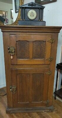 Antique, Gorgeous, Solid Oak, Aluminum lined Two Door Ice Box