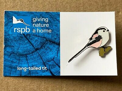 RSPB Pin Badge - Long-tailed Tit On GNaH Blue FR Card