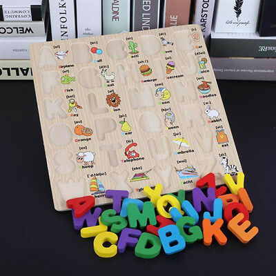 Color Wooden Alphabet Jigsaw Learning Educational Puzzle Letter Children Y2