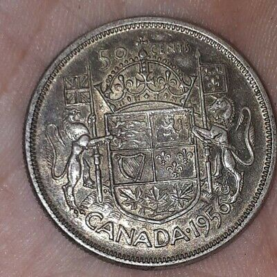 1956 Canadian Silver 50 Cent Toned