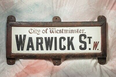 "Antique London Street Sign - porcelain over 1"" marble - from City of Westminster"