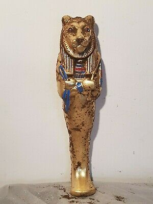 Rare Antique Ancient Egyptian Statue Gold Gilded God Sekhmet Museum War 1720 BC