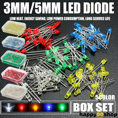 3mm 5mm 2Pin LED Light Emitting Diode F3 F5 Bulb Kit Green Yellow Red Blue White