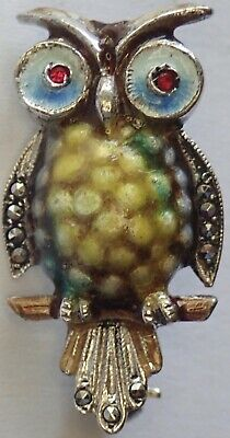 Vintage Alice Caviness Germany Sterling Silver Enamel Marcasite Owl Brooch