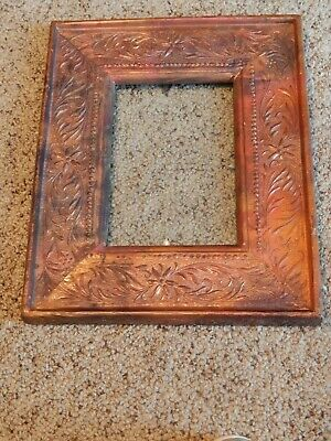 Antique Victorian Arts Crafts Deco Handmade Stamped Copper Picture Frame