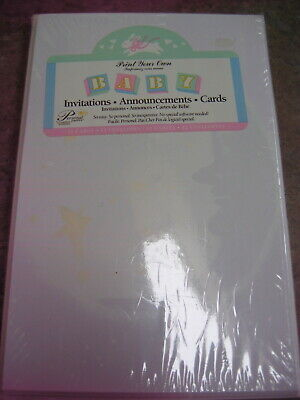 NIP BABY INVITATIONS ANNOUNCEMENTS CARDS Print your Own  MOON & STAR DESIGN 12ct