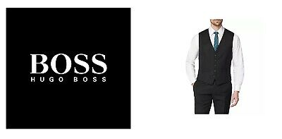 New Hugo Boss men black suit designer jeans vest wool waistcoat 42R XL £129