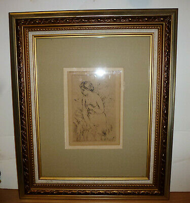 Circa 1910 Antique Art Etching By Pierre Auguste Renoir Baigneuse Deboit Framed