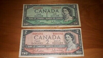 Set Of 1 And 2 Dollar Banknote Lot