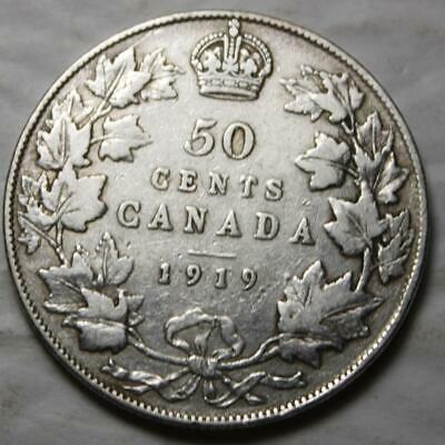 Canada 1919 Silver 50 Cents, Old Date KGV