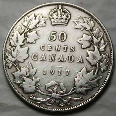 Canada 1917 Silver 50 Cents, Old Date KGV