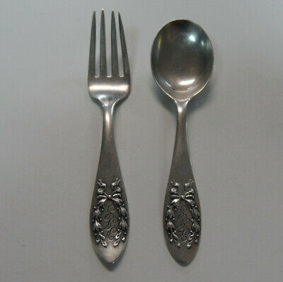 ANTIQUE Signed HERRMANN Sterling Silver BABY SPOON & FORK SET Austria Art Nouvea