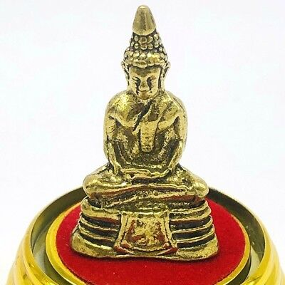 Antique Thailand Bronze Buddha Statue Small Rare Gold Plate Meditation 1800s