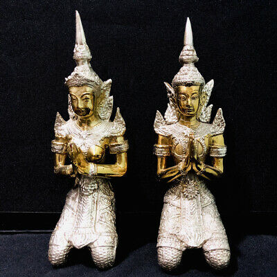 Asia Thailand Bronze Buddha Statue Pair Male Female King Costume Kneeling Pray