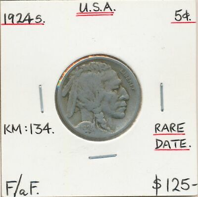 USA 1924s Buffalo Nickel KM-134 F/aF Scarce Date